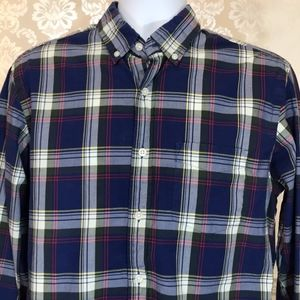 Men's J. Crew Tartan Blue Plaid Button-Down Shirt